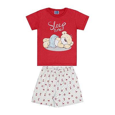 Conjunto Pijama Camisa e Bermuda Vermelho