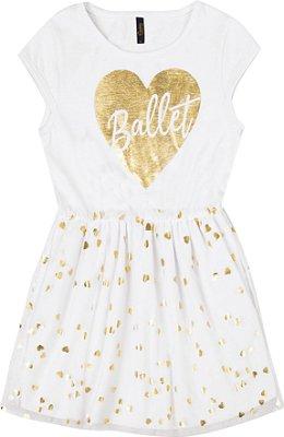 Vestido com Estampa Ballet e Tule de Coração Branco