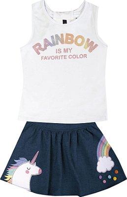 Conjunto com Regata em Cotton com Estampa Rainbow e Saia Branco