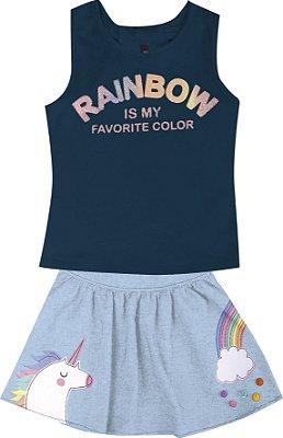 Conjunto com Regata em Cotton com Estampa Rainbow e Saia Azul