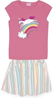 Conjunto com Blusa de Cotton Estampada Nuvem e Unicórnio e Saia com Tule Rosa