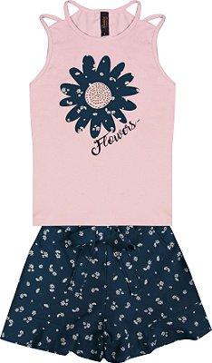 Conjunto com Regata em Cotton com Aplique e Shorts em Tricoline Estampado Rosa