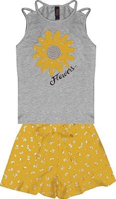 Conjunto com Regata em Cotton com Aplique e Shorts em Tricoline Estampado Cinza