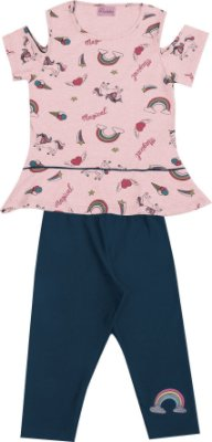 Conjunto com Blusa Estampada com Detalhe nas Mangas e Capri em Cotton Rosa