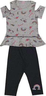 Conjunto com Blusa Estampada com Detalhe nas Mangas e Capri em Cotton Cinza