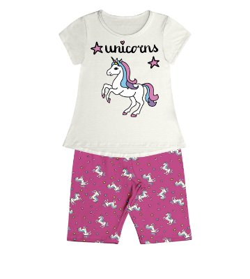 Conjunto Pijama Blusa Unicorns e Shorts Rotativo Bege