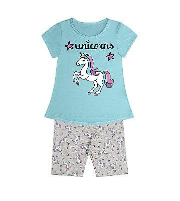 Conjunto Pijama Blusa Unicorns e Shorts Rotativo Azul