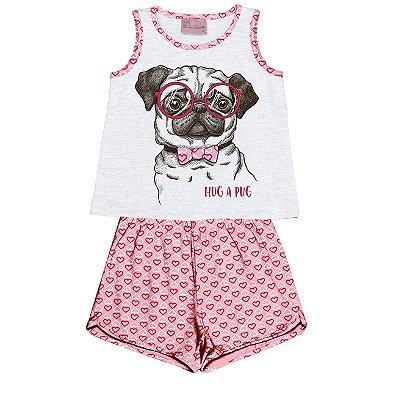 Conjunto Pijama Blusa com Shorts Branco