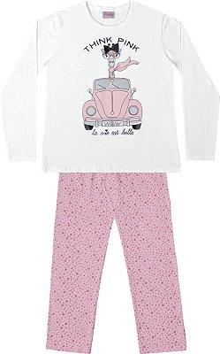 Conjunto Pijama Blusa Girafa Calça Bolinha Branca