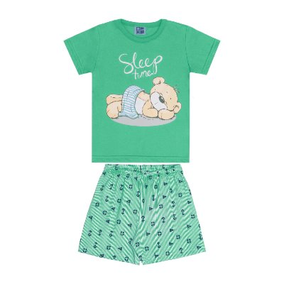Conjunto Pijama Camisa e Bermuda Verde