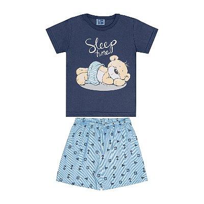 Conjunto Pijama Camisa e Bermuda Azul