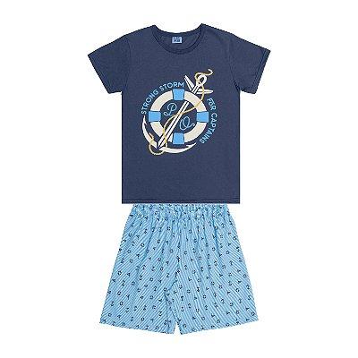 Conjunto Pijama Camisa Ancora e Bermuda Azul
