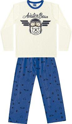 Conjunto Pijama Camisa Urso Calça Ursinho Bege