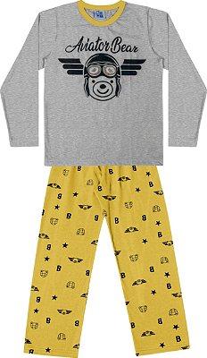 Conjunto Pijama Camisa Urso Calça Ursinho Mescla