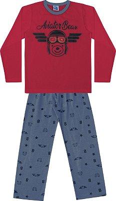 Conjunto Pijama Camisa Urso Calça Ursinho Vermelho