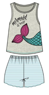 Conjunto Pijama Regata Sereia e Short Bege
