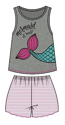 Conjunto Pijama Regata Sereia e Short Mescla