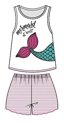 Conjunto Pijama Regata Sereia e Short Branco