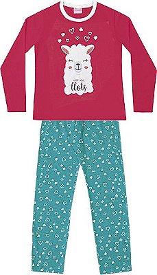 Conjunto Pijama Blusa Ovelha e Calça Rosa