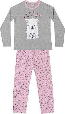 Conjunto Pijama Blusa Ovelha e Calça Mescla