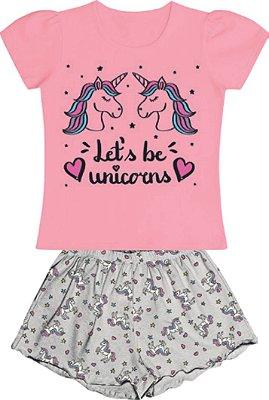 Conjunto Pijama Blusa Unicornio Shorts Rosa