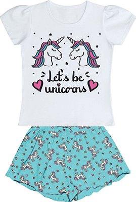Conjunto Pijama Blusa Unicornio Shorts Branco