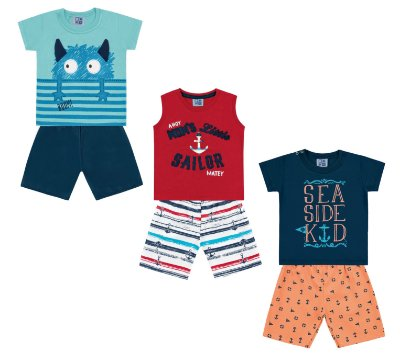 Kit 3 Conjuntos Ancora Sea side Kid