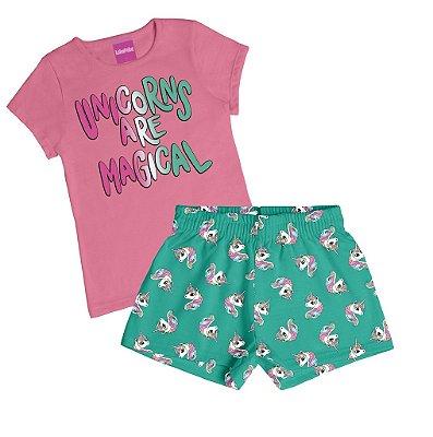 Conjunto Blusa em Meia Malha Penteada e Short Estampa Unicórnios Rosa