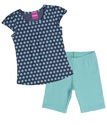 Conjunto Blusa Estampa Bolinha e Ciclista em Cotton Penteado Azul