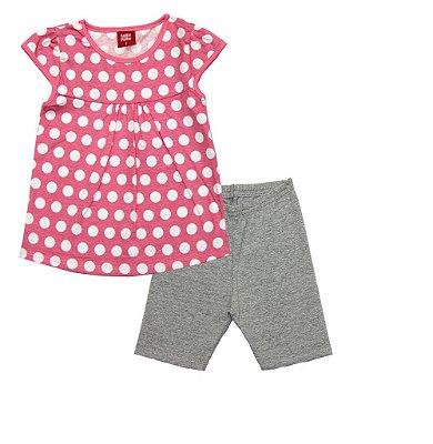 Conjunto Blusa Estampa Bolinha e Ciclista em Cotton Penteado Rosa