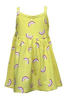 Vestido de Alça com Estampa Rotativa Arco-Íris Amarelo