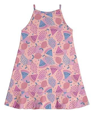 Vestido de Alça Estampa Rotativa Frutas Rosa