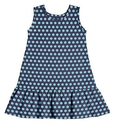 Vestido em Meia Malha Estampa Rotativa Bolinhas Azul