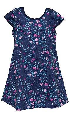 Vestido Estampa Rotativa Flores Azul