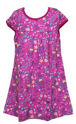 Vestido Estampa Rotativa Flores Rosa