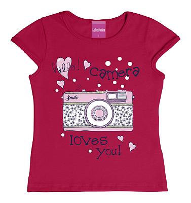 Blusa em Meia Malha Penteada Estampa Câmera Rosa