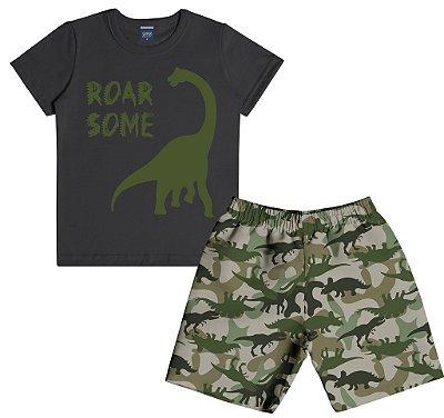 Conjunto Camiseta Estampa Dinossauro e Bermuda Microfibra Dinossauro Preto