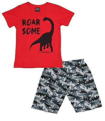 Conjunto Camiseta Estampa Dinossauro e Bermuda Microfibra Dinossauro Vermelho