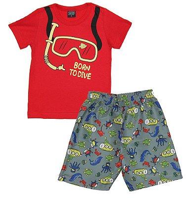 Conjunto Camiseta Meia Malha e Bermuda Microfibra Vermelho