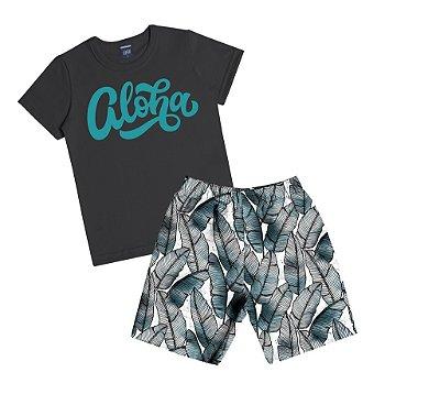 "Conjunto de Camiseta Estampa ""Aloha"" e Bermuda Estampa Folhas Preto"