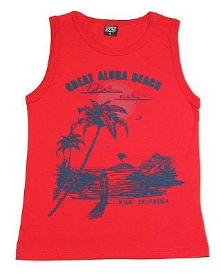 Machão Estampada Aloha Beach Vermelho