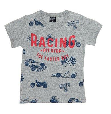 Camiseta Estampada Racing Cinza
