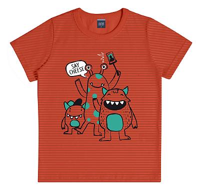 Camiseta Estampada com Listras Laranja