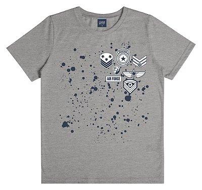 Camiseta em Meia Malha Estampada Aviação Cinza