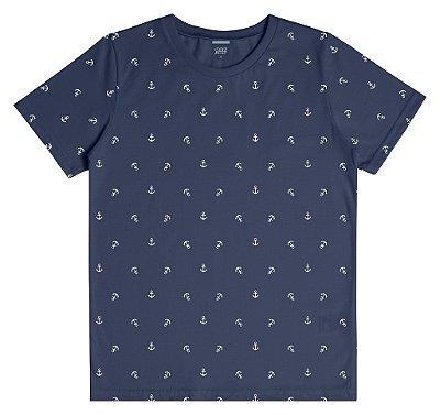 Camiseta em Meia Malha com Estampa de Âncoras Azul