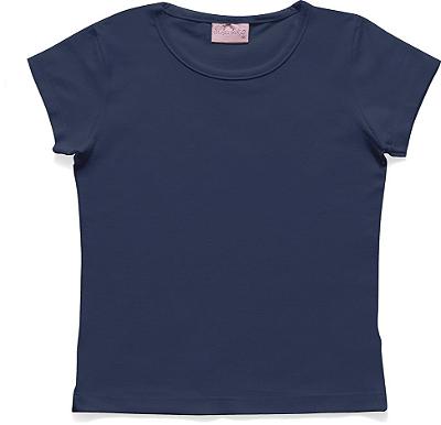 Blusa Básica em Meia Malha Azul