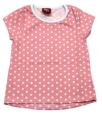 Blusa Mullet Estampada Rosa com Bolinhas