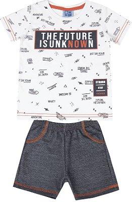 Conjunto de Camiseta Estampada Bermuda Moletom Jeans Branco