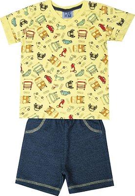 Conjunto de Camiseta em Meia Malha decote V Bermuda em Moletom Jeans Amarelo