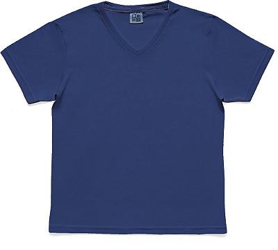 Camiseta em Decote V Básica Azul
